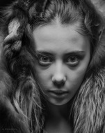 Portrait with fur. Photo tests. A. Krivitsky's Photographic Thea